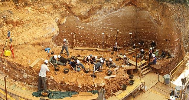 Panorámica de la excavación en 2012 de la Gran Dolina en la Sierra de Atapuerca (Burgos)