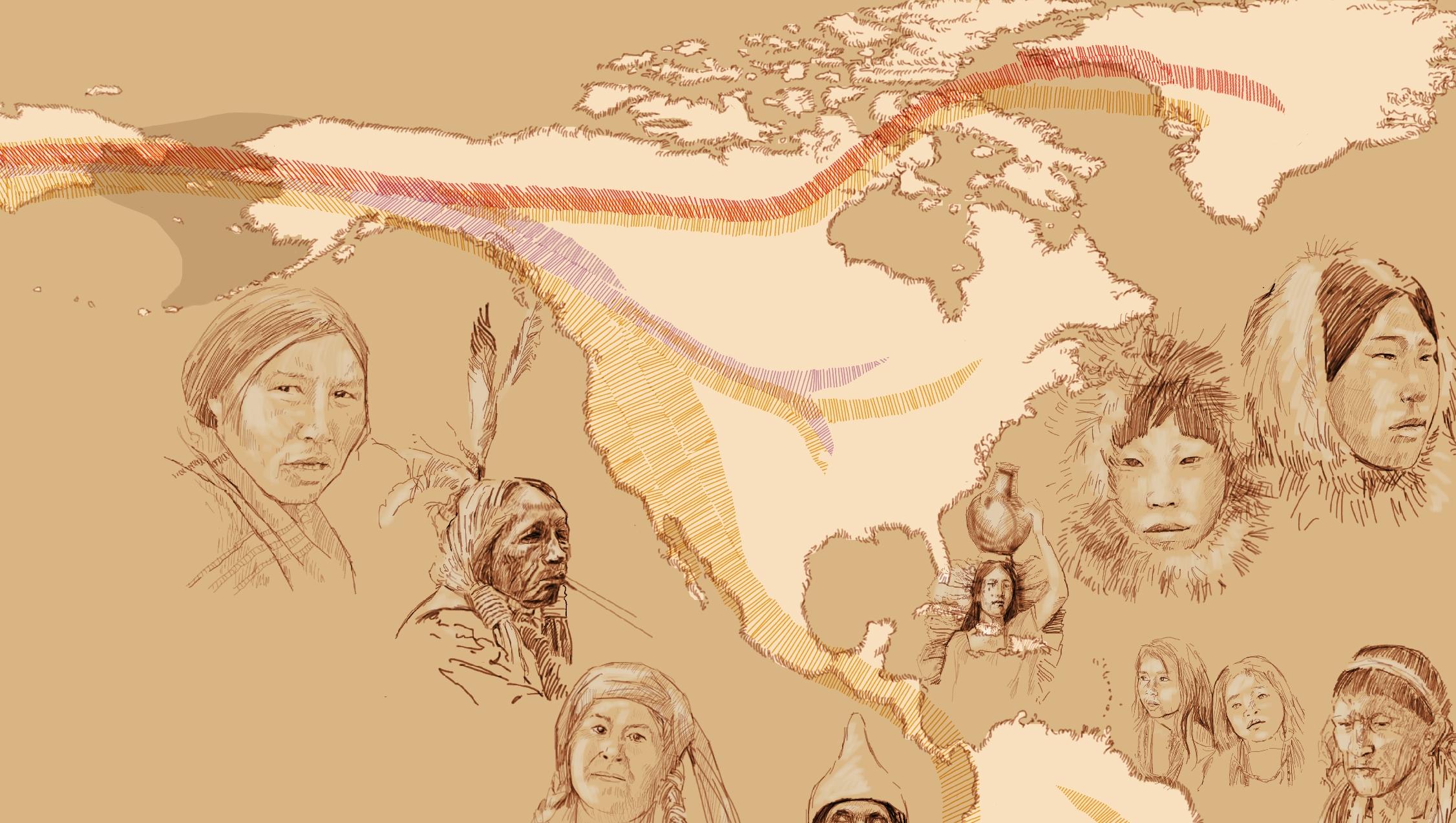 Dibujos basados en fotografías de los nativos americanos desde el Ártico hasta Tierra del Fuego, y las distintas corrientes migratorias povenientes de Asia.