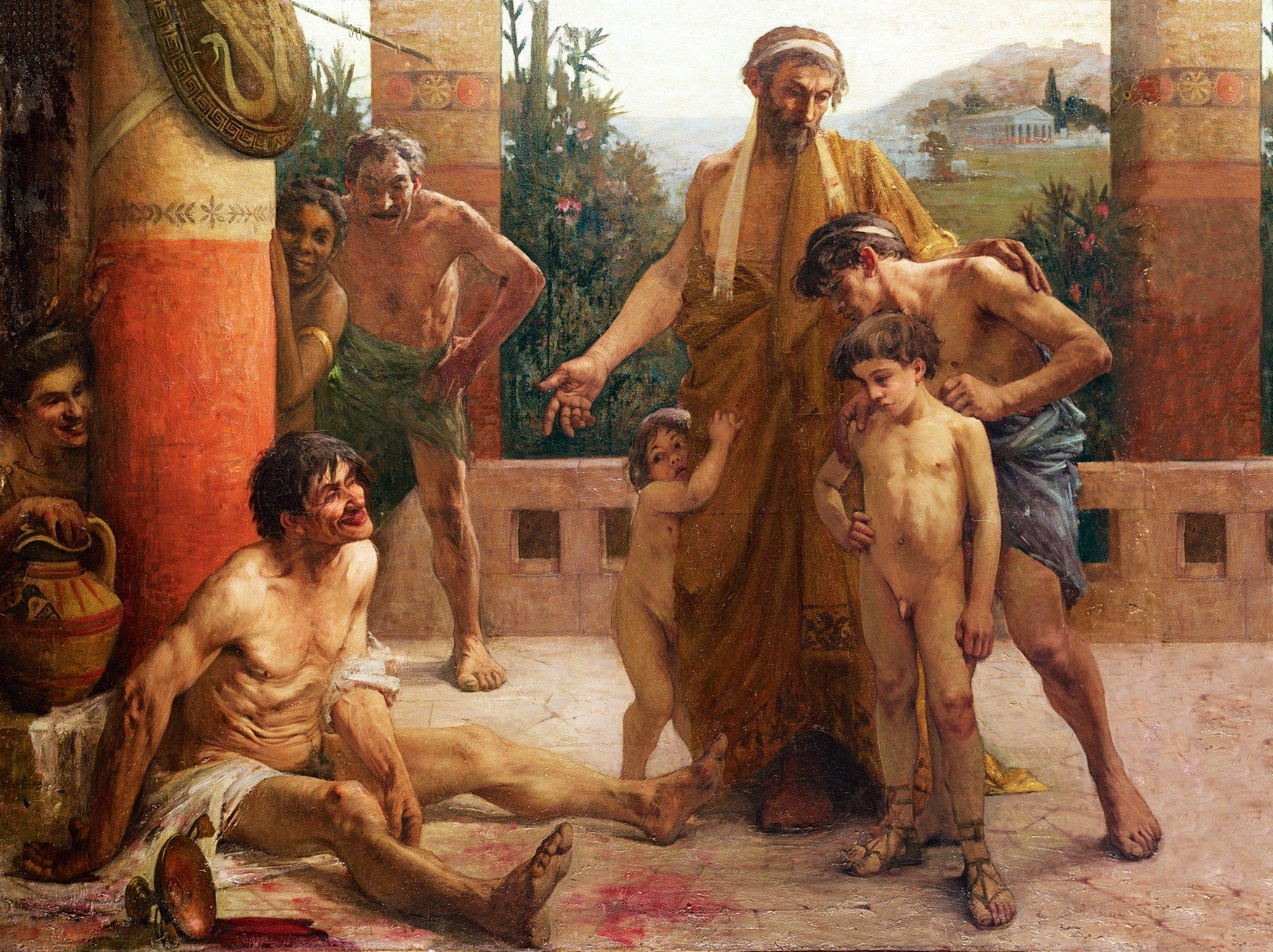 Los esclavos eran a veces objeto de escarnio. En este óleo, de F. Sabbate (1900), un espartano muestra a sus hijos un esclavo borracho. Escuela de Bellas Artes, París.
