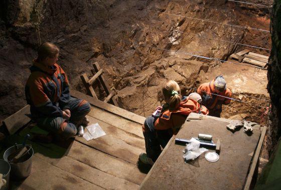 Excavación en la cueva de Denisova (Rusia).