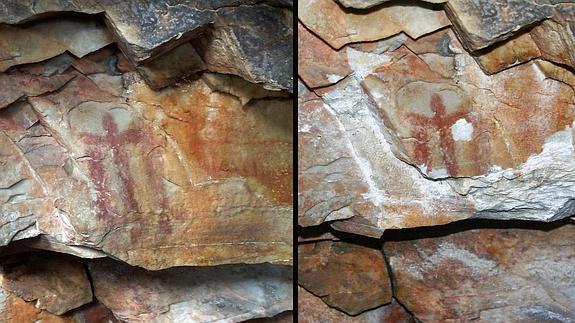 Imágenes del antes y el después del estado de la pintura rupestre de la cueva de Los Escolares de Santa Elena (Jaén).