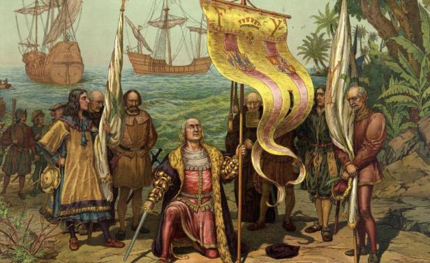 Recreación de la llegada de Cristóbal Colón a América.