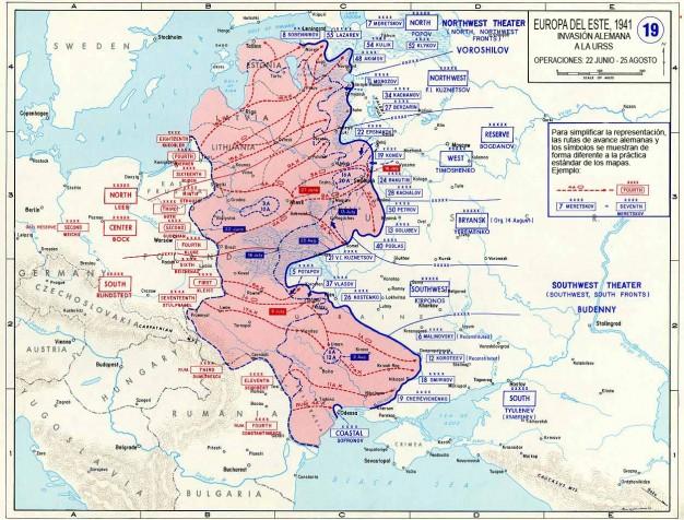 Mapa del desarrollo de la Operación Barbarroja: Primera parte (22 Junio-25 Agosto)