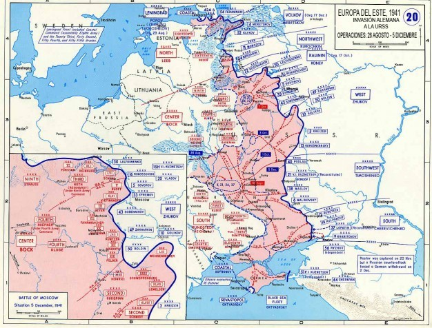 Mapa del desarrollo de la Operación Barbarroja: Segunda parte (26 Agosto-5 Diciembre)