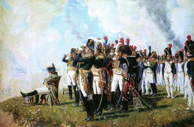 El general Napoleón y sus tropas.