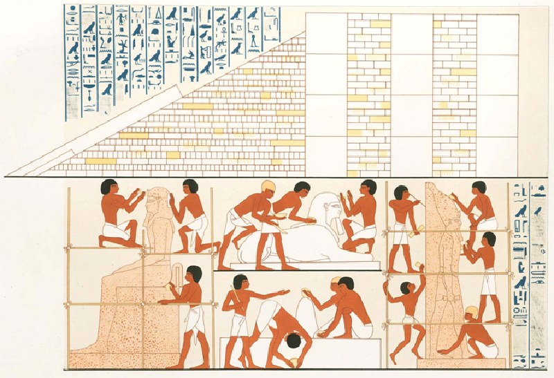 Grabado de una tumba de Abdel el Gurna donde se ve claramente cómo trabajaban los Egipcios haciendo andamios y rampas.