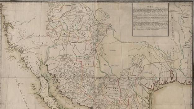 Mapa de la frontera norte de Nueva España, conlas provincias españolas y las tribus indias, 1779. Foto: BNE