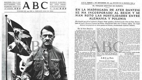 Página de ABC donde se narró la invasión de Polonia. Ejemplar del 2.9.1939