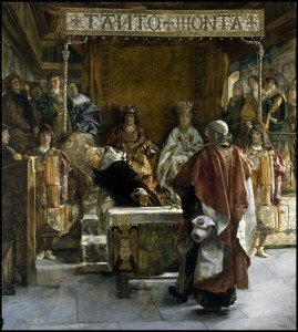 El Inquisidor Torquemada presentando el edicto de expulsión de los judíos a los Reyes Católicos - Emilio Sala y Frances (1889)
