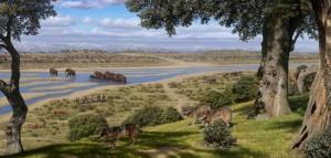 Recreacion de paisaje del Pleistoceno