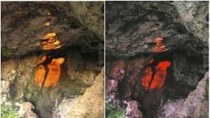 Fotografía cedida por el Instituto de Astrofísica de Canarias (IAC), en la que se observan dos momentos de la entrada de la luz solar en la Cueva de La Lobera.