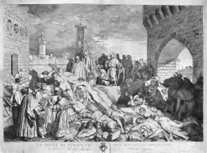 La Peste en una edición del Decameron de Boccaccio en la plaza de Florencia