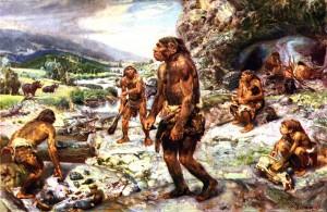 Recreación de grupo de Neandertales en la península Ibérica