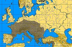 En marrón distribución de la cultura auriñaciense
