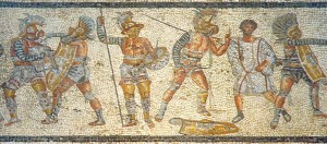 Fragmento del mosaico de Zliten, hallado cerca de Leptis Magna, actual Libia