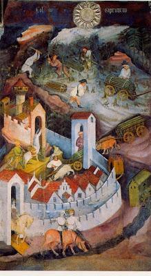"""""""Diciembre"""" Pintura mural perteneciente al Ciclo Dei Mesi del Castillo de Buonconsiglio, Trento, s. XV."""