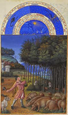 """""""Noviembre"""" perteneciente a Las Muy Ricas Horas del Duque de Berry. S. XV. Museo Condé, Chantilly"""