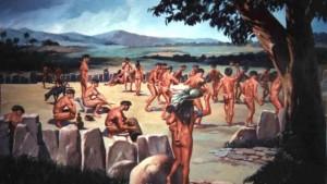 Recreación de primeros pobladores sudamericanos