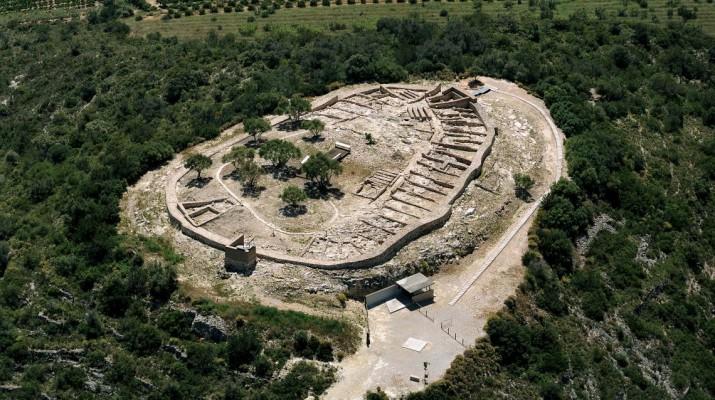Vista aérea del oppidum ibérico.